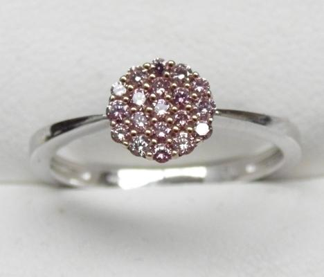 9ct white gold pink diamond cluster ring, N 1/2