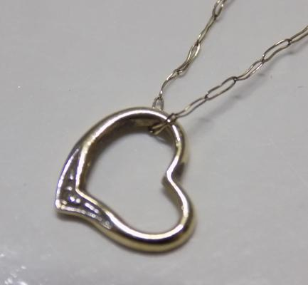 9ct Gold heart necklace with single diamond