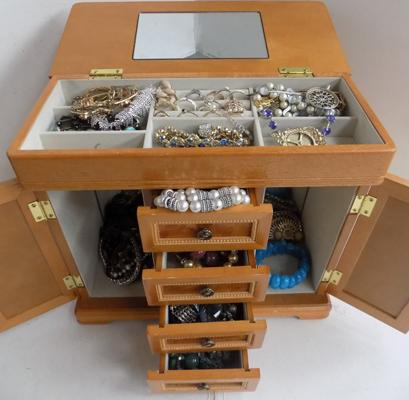 Jewellery box full of mixed costume jewellery