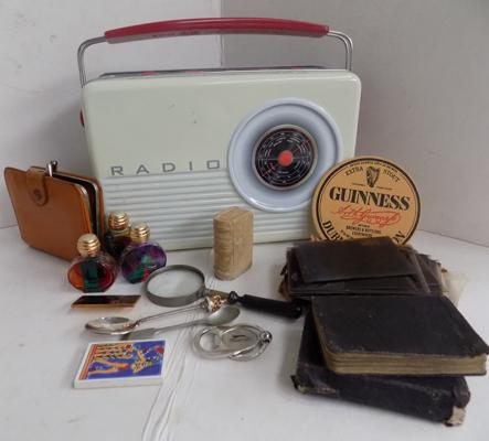 Retro radio tin + collection of mixed collectables