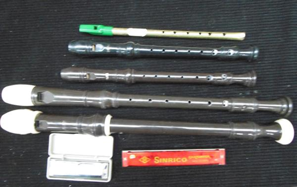 Various musical instruments - treble, recorders, harmonica & penny whistle