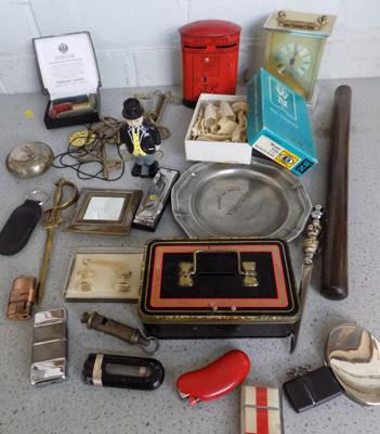 Tray of vintage collectables, Acme whistle, pin box, harmonica, brass mantle clock