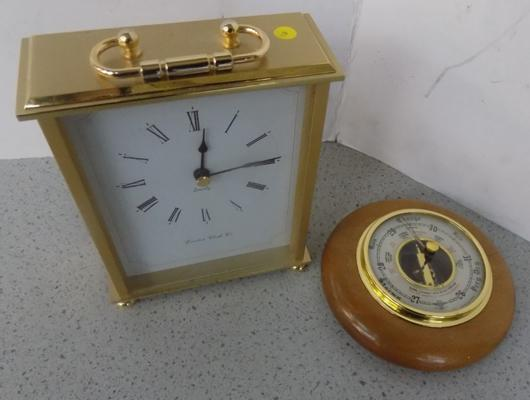 London clock, quartz clock and small barometer small