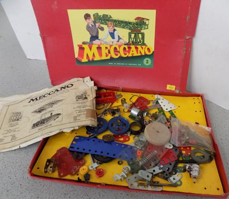 Meccano No. 2 box with parts