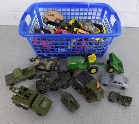 Basket of die cast inc vintage & Army vehicles