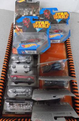 Fifteen Hot-Wheels cars incl. Star-wars, James Bond and Batman