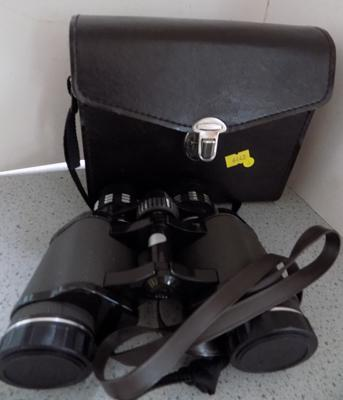 Binoculars with case - Hanimex Featherweight
