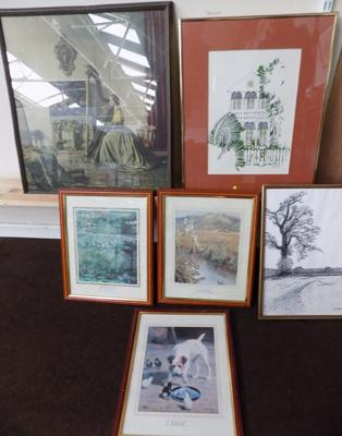 Collection of framed paintings & prints inc signed McMullen-original