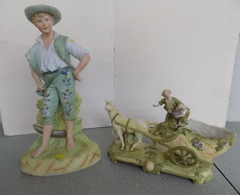 "Ceramic boy 16"" & young couple with pony & carriage"
