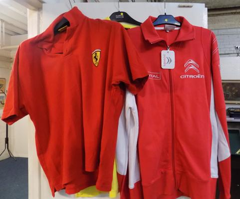 2x Ferrari polo shirts & Citroen racing jacket