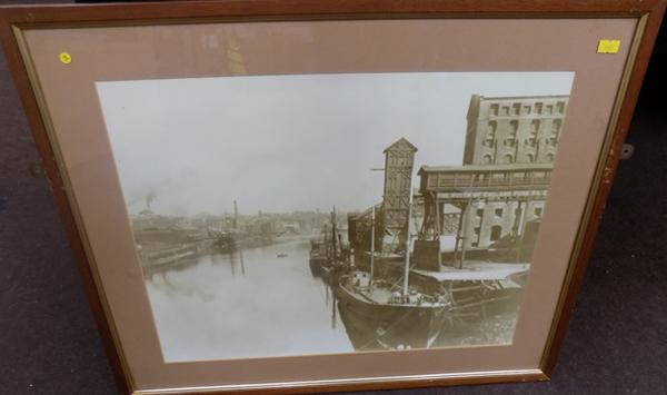 Framed photograph 'Ships berthed at North Oil works' Thornaby river