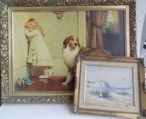 Print of dog & girl in ornate frame + an oil in frame