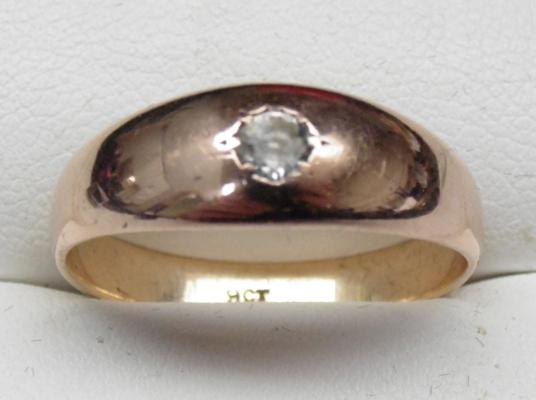 9ct rose gold gent's solitaire signet ring, size U 1/2