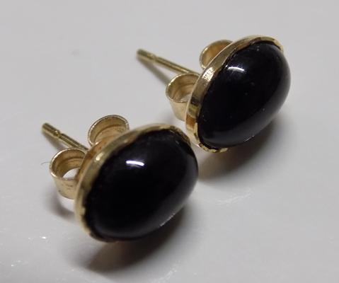 Pair of 9ct gold black stone earrings