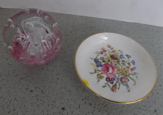 Paperweight and Royal Doulton pin tray