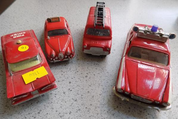 4x Vintage 1960's Corgi die cast fire related cars & vans