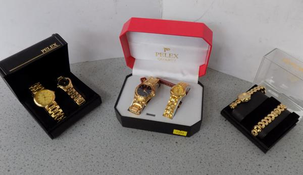 Three boxed watch sets, incl. Pelex