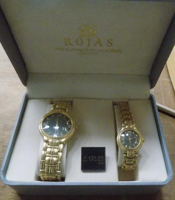 Ladies and Gents watch set-boxed