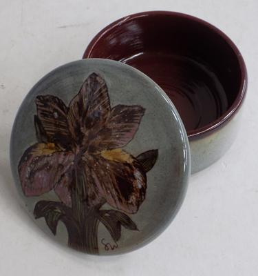 Chelsea Art Pottery trinket pot with iris decoration - signed