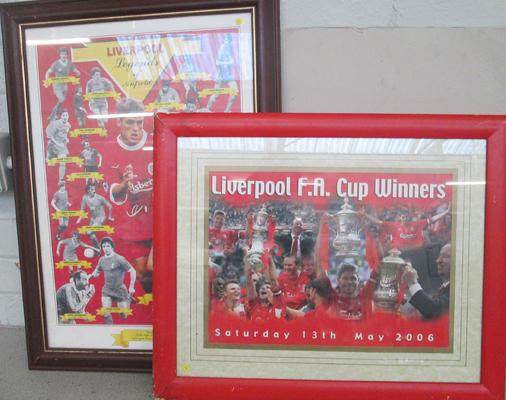 Two large Liverpool pictures in frames