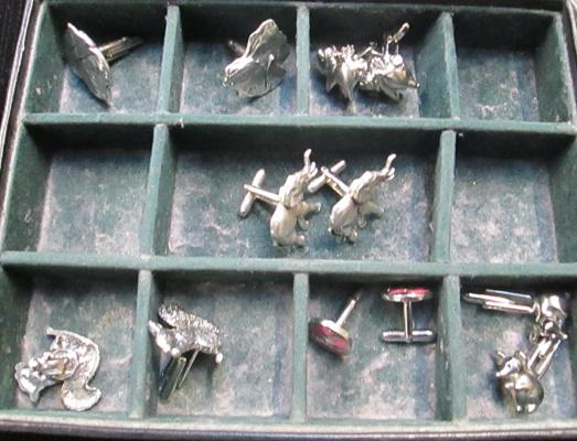 Pewter & brass metal cuff links, assorted