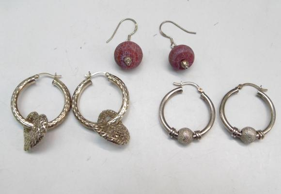 3 Pairs of silver earrings-1x solid silver & 2x silver glass & enamel