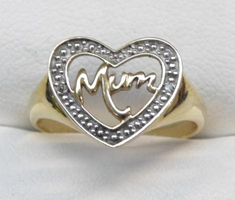 9ct gold mum heart ring