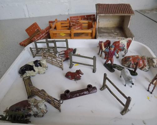Britains lead 1920's Farm set, animals, farmer, farm yard