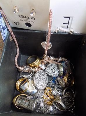 Box of assorted costume jewellery + scrap silver