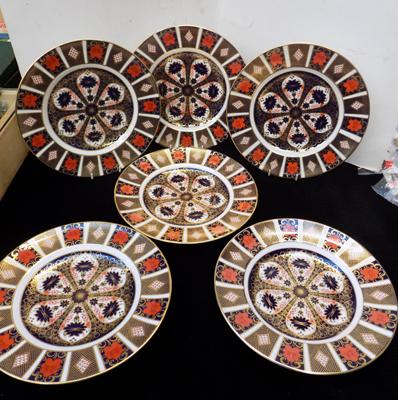 "Six 6""x10"" Royal Crown Derby Imari dinner plates-seconds"