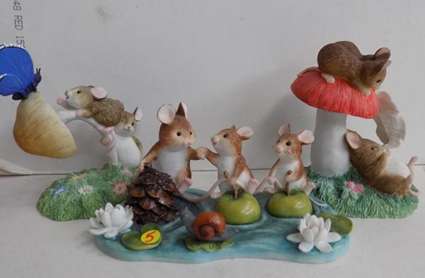 Three pieces of Border fine arts Merry Mice - 'Bobbing Apples', 'Out of Reach', 'Tickled Pink'