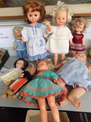 "Large quantity of 1960's dolls inc 3 pallitoy 15"" walking dolls"