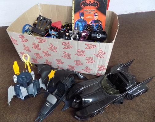 Large box of 1990's Batman figure & cars