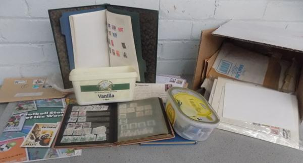 Box of stamps & 3 albums