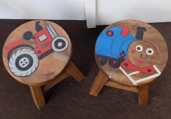 2x children decorative topped stools