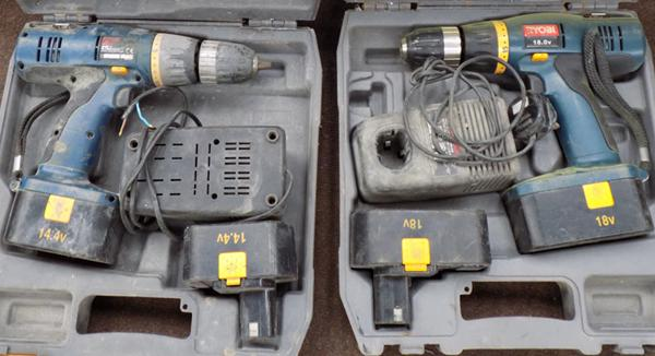 2x Ryobi drills-1x 18v & 1x 14.4v (as seen)