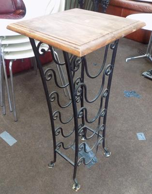 Wrought iron wooden top stand