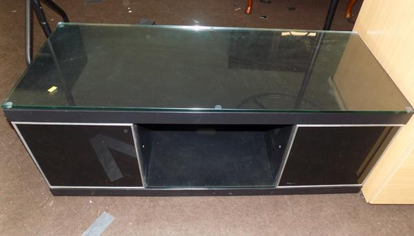 Modern glass topped TV unit