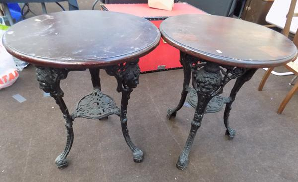 2x Circular pub tables