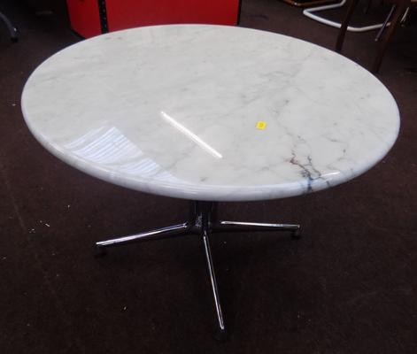Circular marble top side table
