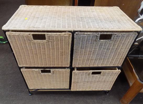 Four drawer wicker unit