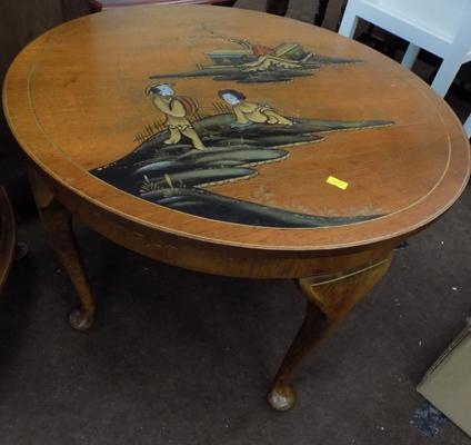 Art Deco Chinoiserie walnut table