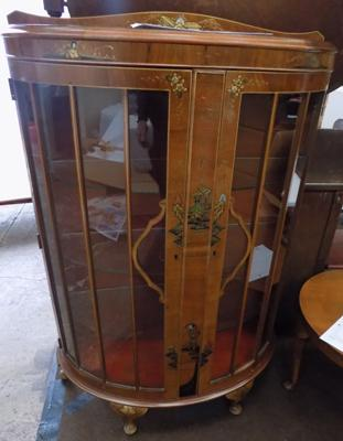 Art Deco Chinoiserie walnut demi-lune front display cabinet (keys in office)