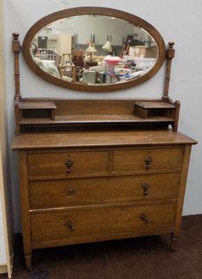 Oak mirror backed dressing table