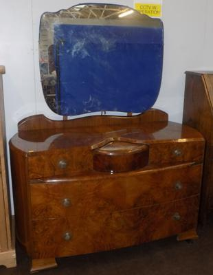 Burr walnut quarter cut dressing table with mirror + secret door