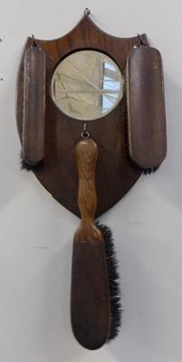 Vintage hall clothes brush stand/plaque