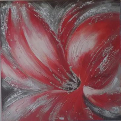 Large oil painting of red Orchid