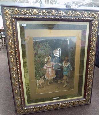 Large vintage framed print - 'One, Two Three Go'