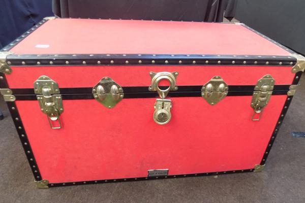 Red travel trunk (made in England)