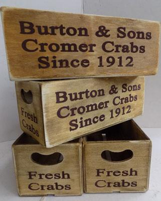 4x Small Crab wooden crates